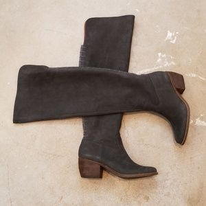 Lucky Brand Gray Pebbled Leather OTK Boots